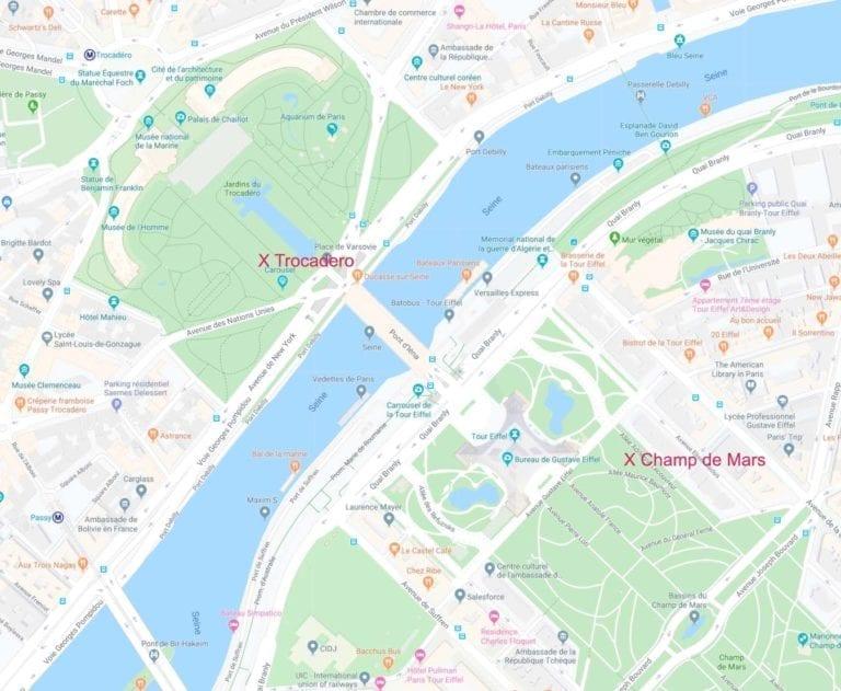 Map Near the Eiffel Tower, Paris